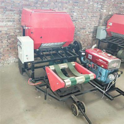 柴油机高效率大型青贮玉米秸秆打捆包膜一体机 牧草粉碎打包机厂家