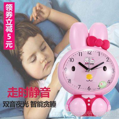 儿童闹钟静音床头学生女可爱卡通多功能会说话创意夜光电子小闹钟