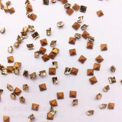 厂家热销2*2水晶黄尖底方钻异形玻璃钻 高档项链钟表diy饰品配件