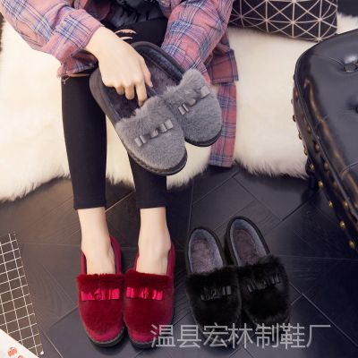 秋冬季棉拖鞋女式全包跟厚底室内家居鞋室外保暖月子棉鞋冬毛毛鞋