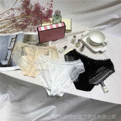 3条套盒装 蕾丝内裤 日系夏季镂空透气黑色性感少女 微商包邮2110