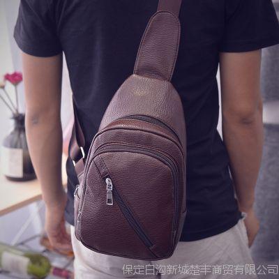 新款休闲小米PU运动胸包户外大容量肩挎胸前包防盗男士胸包斜挎包