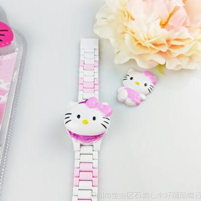 流行凯蒂猫儿童卡通3合1可拆卸电子手表 彩带套装电子手腕表