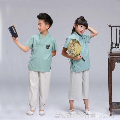 新款民国风男童女童夏装套装薄款棉麻小学生唐装幼儿园儿童演出服
