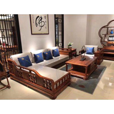新中式软体家具红木贵妃转角沙发刺猬紫檀 花梨木