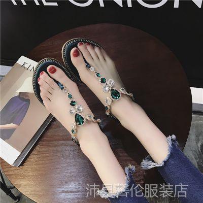 仙女夹脚凉鞋子女夏季平底2018新款韩版百搭时尚学生波西米亚夹趾