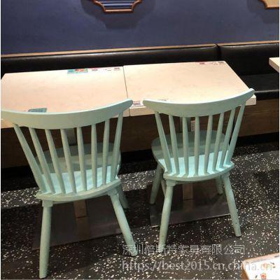 倍斯特简约现代实木温莎椅创意中餐快餐厂家定制