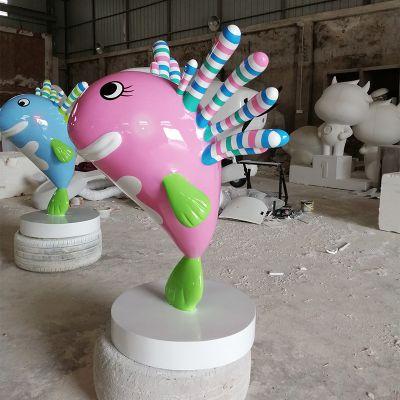来图定制玻璃钢卡通鱼雕塑户外楼盘公园仿真动物厂家直销现货模型