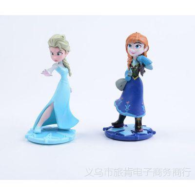 2款冰雪奇缘 艾莎elsa 安娜公主手办生日蛋糕造型摆件玩偶