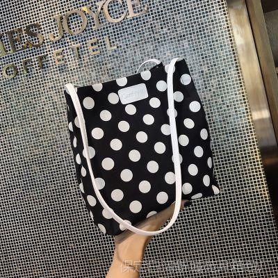 帆布女包2018新款波点包单肩手提包学院风书包甜美可爱环保购物袋
