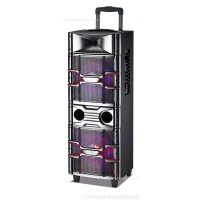 专业舞台双10寸有源音响大功率蓝牙音响七彩灯移动木制音箱
