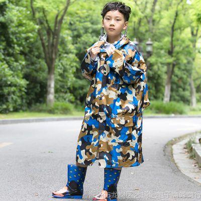 儿童雨衣男童女童小学生带防水位加大长款6-15岁中大童书包雨衣披