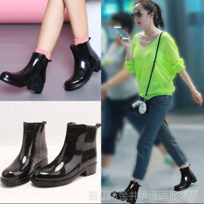 女士雨鞋鞋子马靴学生女鞋黑色磨砂光春夏短靴休闲马丁短加厚加棉