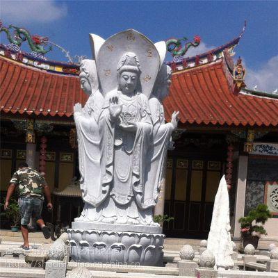 厂家直销石雕三面观音像 花岗岩大型寺庙三面观音雕像