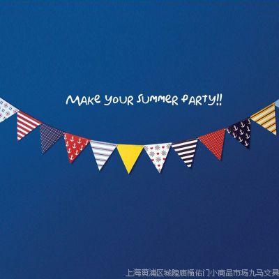 九马文具 新款创意家居批发 韩版海军风三角彩旗 聚会生日装饰品