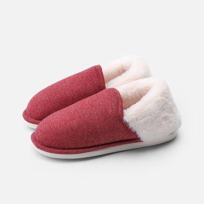 棉拖鞋女包跟家居情侣室内居家防滑加厚保暖月子毛绒拖鞋男冬 EVA鞋底