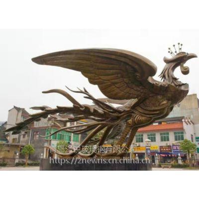 工程承包:铸铜凤凰大型景观雕塑 青岛铸铜飞鸟雕塑雕像