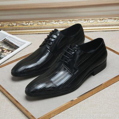 厂家直供2018新款男士正装皮鞋男头层牛皮系带尖头男单鞋一件代发