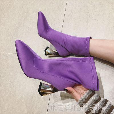 短筒女靴2018春秋季新款韩版百搭短靴女粗跟尖头网红英伦弹力靴子