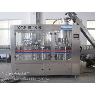 【厂家供应】XGF18-18-6玻璃瓶三合一灌装机设备 果汁茶饮生产线
