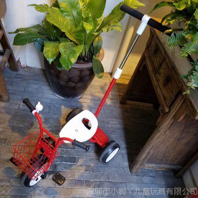 日本儿童三轮车宝宝脚踏车小孩自行车复古简约推杆手推童车1-3岁