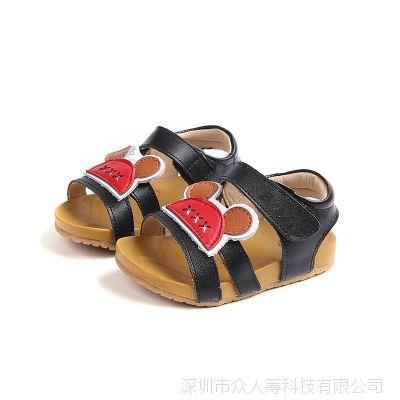 2018夏季新款女童凉鞋真皮防滑公主鞋时尚卡通凉鞋魔术贴休闲凉鞋