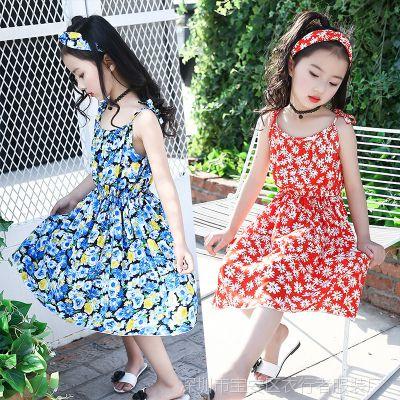 女童夏季连衣裙2018新款童装中大童吊带裙儿童碎花裙子女孩沙滩裙