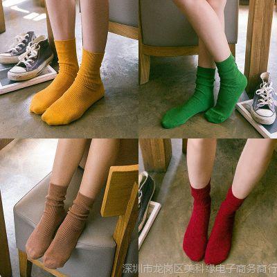 紫色玫红色女袜女式夏款袜子简约黄色男女中筒袜春堆堆袜女棉袜绿