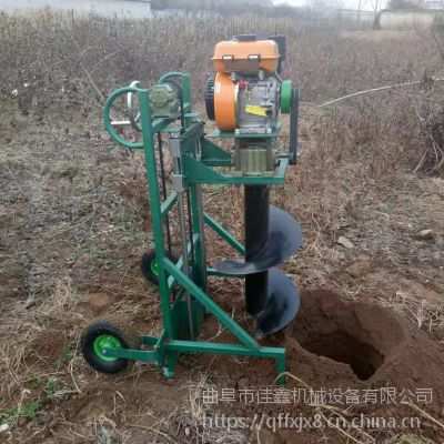 佳鑫手推框架挖坑打眼机 1米直径四轮挖坑机 手扶式地钻挖坑机