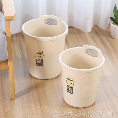 垃圾桶家用客厅卧室大号卡通小熊无盖欧式纸篓厕所厨房塑料垃圾筒