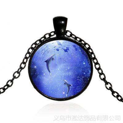 欧美新款复古时光宝石玻璃项链速卖通爆款海豚月光合金吊坠毛衣链