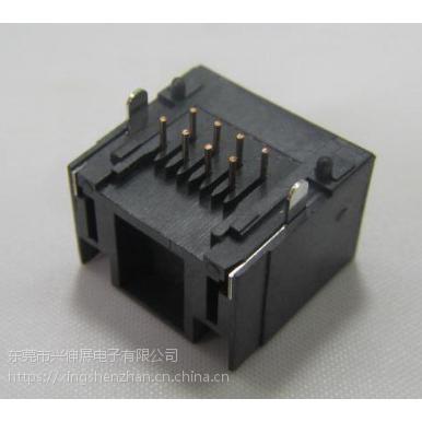 供应兴伸展电子8P8C以太网RJ45母座/以太网接口座45度DIP型RJ45房屋状