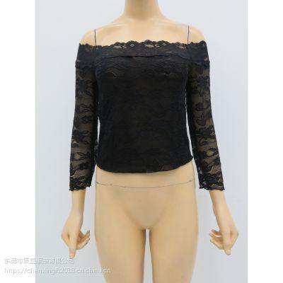 女士钩花透视网抹胸上衣,纯色双层蕾丝长袖