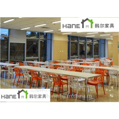 上海韩尔简约品牌工厂 供应时尚塑料椅子批发 单位饭堂餐桌椅制造厂商