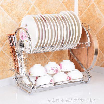 批发 创意家居多功能厨房置物架 双层沥水收纳碗架 滴水放碗碟架