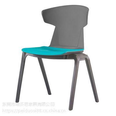 进出口创意学生椅 连排堆叠会议椅 加厚职员椅子 塑料办公椅子 四脚培训椅