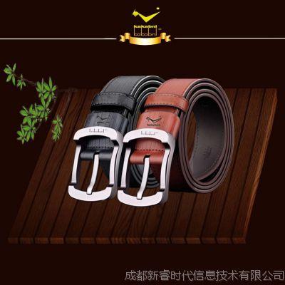 头层皮带卡卡贝宁国际品牌腰带斗牛士针扣头车缝牛皮复古时尚皮带