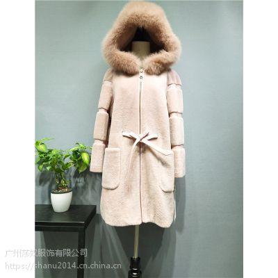 英菲蒂妮韩嘉依女装冬装羊剪绒大衣外套皮毛一体皮草羊毛呢大衣尾货走份批发