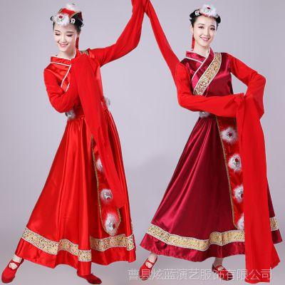 藏族水袖舞蹈演出服装女新款衣服西藏少数民族服饰广场舞套装成人