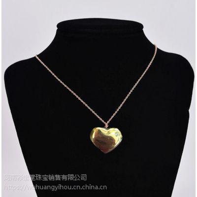 河南五皇一后珠宝供应心形钛合金项链 项链礼品 合金项链女