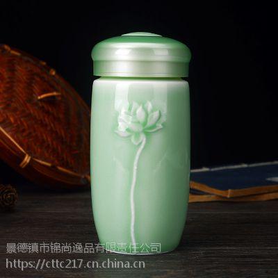 陶瓷保温杯青花保温杯青花瓷办公杯双层内胆泡茶杯