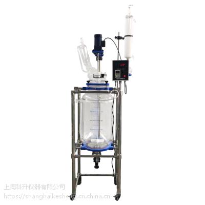 上海科升 双层玻璃反应釜S212-30L多功能反应器 夹套反应釜