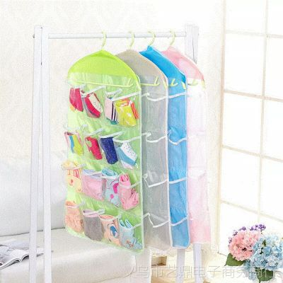 创意16格衣物袜子收纳挂袋 衣柜可视收纳袋 内衣小物分类整理袋