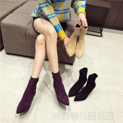 网红弹力瘦瘦靴子2018春秋季新款韩版百搭黑色英伦短靴女细跟尖头