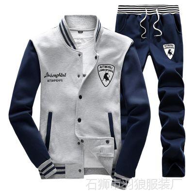 2016秋季男士运动卫衣套装休闲卫裤长袖韩版棒球服套装厂家直销