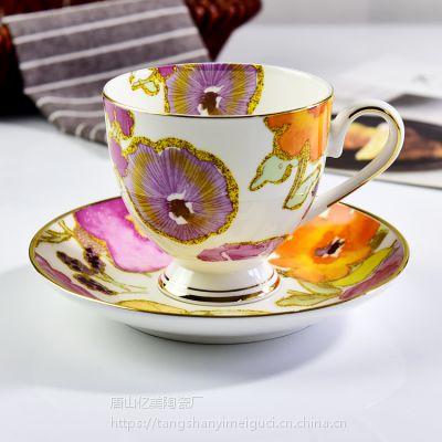 唐山亿美陶瓷咖啡杯碟 欧式骨瓷金边下午茶套装办公水杯 礼品批发定制logo