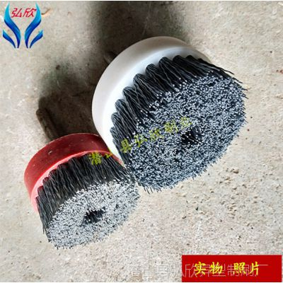 磨料丝圆盘刷 CNC机床毛刷电动金属抛光研磨弘欣去毛刺打磨刷厂家