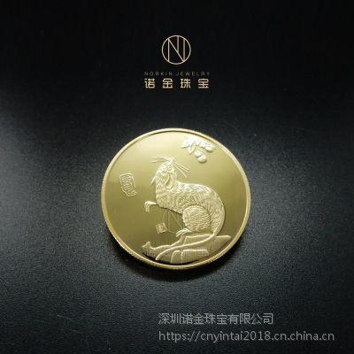 纯银纪念章厂家定制银质十二生肖镀金纪念章双面浮雕礼品工艺订做