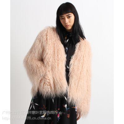 艾安琪女装服装折扣批发市场 品牌大码女装折扣尾货米色蕾丝衫