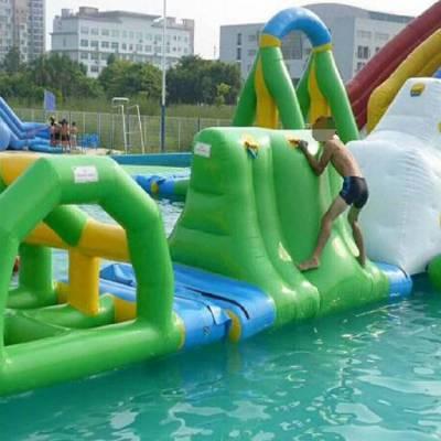 河北石家庄大型充气闯关玩具移动式水上乐园滑梯厂家